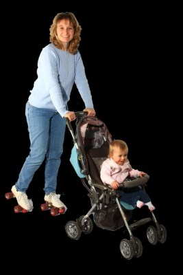 The New Rink Rollers and Strollers Woman with Cild in a Stroller